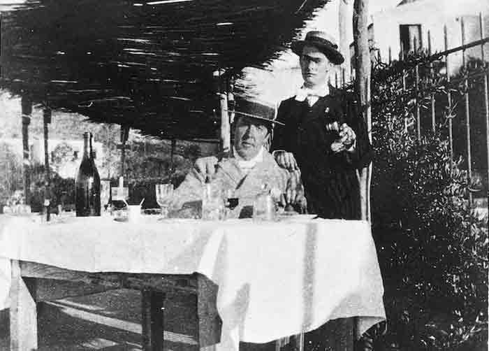 Oscar Wilde en Arthur Douglas in Dieppe in 1898