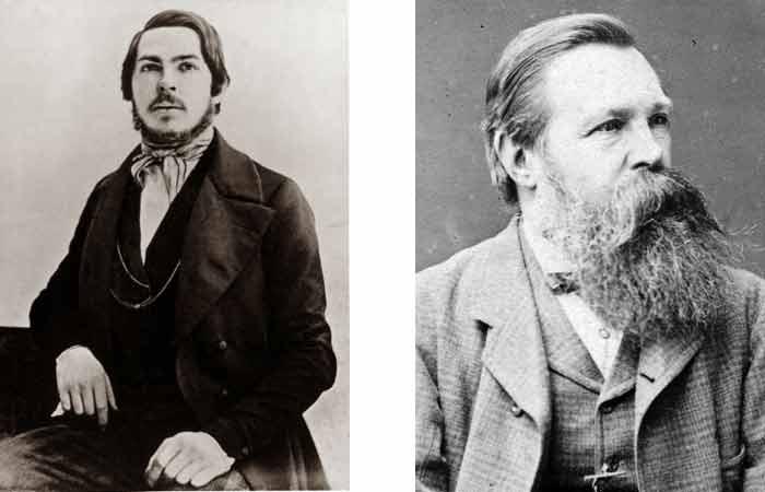 Friedrich Engels in 1840 en 1877