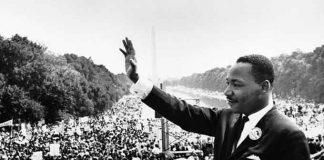 Martin Luther King tijdens de Mars op Washington