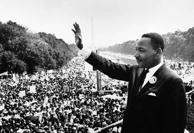 Martin Luther King tijdens de Mars op Washington