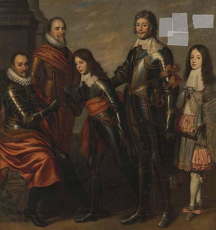 Vier generaties Oranje in volle wapenuitrusting. Links staat Willem van Oranje, dan Maurits, Frederik Hendrik, Willem II en Willem III.