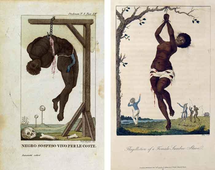 Prenten van John Gabriel Stedman waarop de wreedheden staan afgebeeld die plaatsvonden op de slavenplantages in Suriname in de achttiende eeuw.